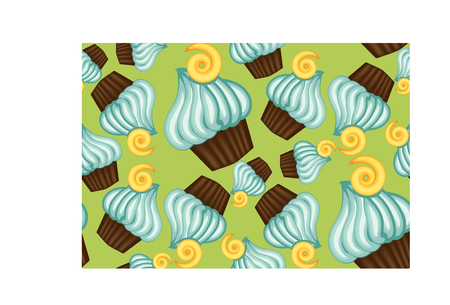 Pattern of appetizing cupcakes with blue cream.
