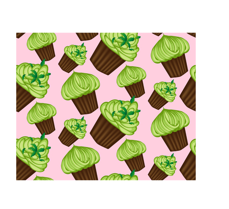 Seamless pattern of appetizing cupcakes with green cream illustration.