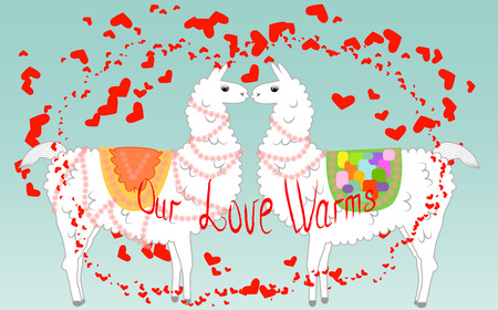 Two lovers, kissing llamas surrounded by hearts. Love is in the air. Inscription Our love warms, postcard, Valentines Day.