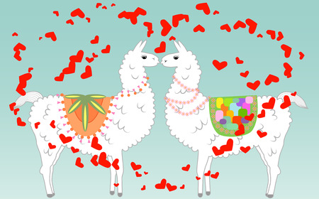 Two lovers kissing llamas surrounded by hearts. Love in the air, postcard to the day of Saint Valentine Illustration