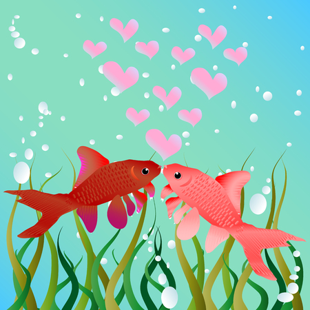 Kissing fish. Cute cartoon fishes in love romantic vector illustration. Template for Valentine day.