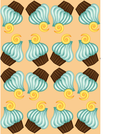 Seamless pattern of appetizing cupcakes with blue cream Stock Vector - 93276323