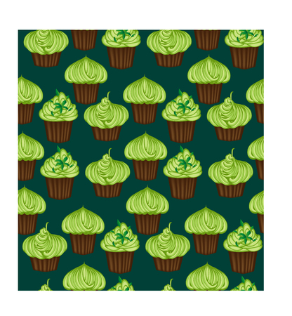 Seamless pattern of appetizing cupcakes with green cream