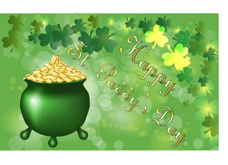 Saint Patricks Day greeting card with a green pot full of gold coinss, parkled green clover leaves and text. Inscription - Happy St. Paddys Day Illustration