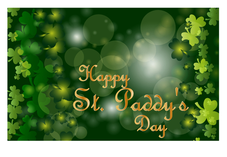 Saint Patricks Day greeting card with sparkled green clover leaves and text. Inscription - Happy St. Paddys Day
