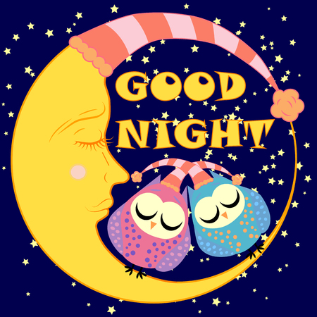 Good night, a postcard with a dozing crescent, two lovely cartoon owls and text. Illustration