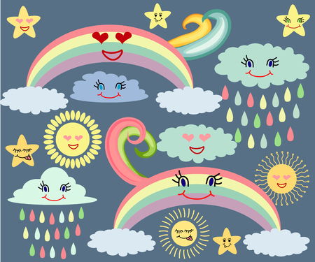 Emotional sun and clouds, stars, rainbow on dark background. Cute weather forecast. Vector set.