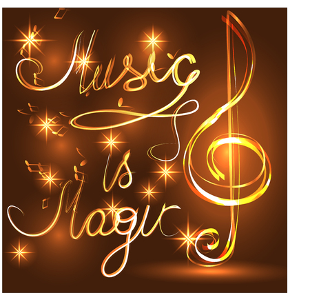 Music is Magic. Elegant luminous contour of the treble clef on a dark background, neon-effect, music, musical note