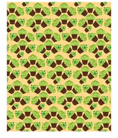 Seamless pattern of appetizing cupcakes with green cream Stock Vector - 93593967