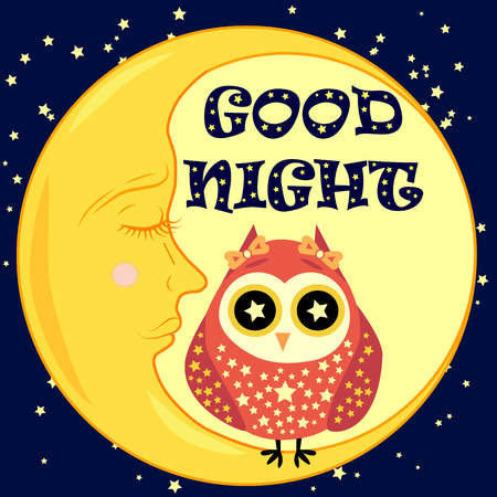 Good night postcard with a dormant crescent, a cute cartoon owl and text.