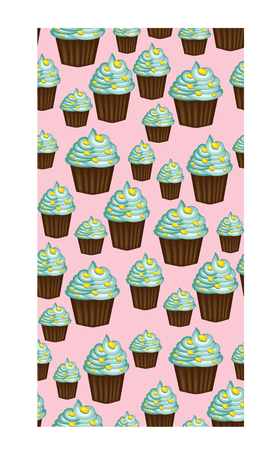 Seamless pattern of appetizing cupcakes with green cream and mint Stock Vector - 93654469