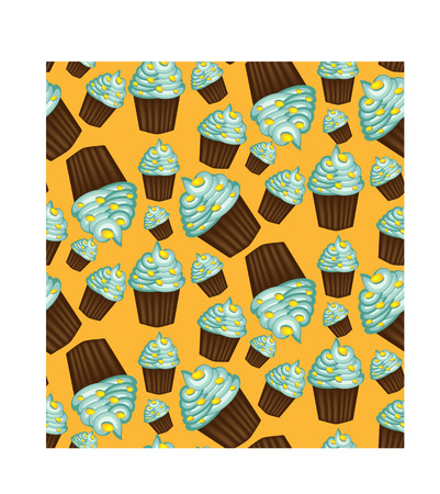 Seamless pattern of appetizing cupcakes with blue cream Stock Vector - 93839252