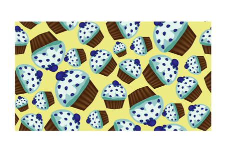 Seamless pattern of appetizing cupcakes with blue cream Stock Vector - 93839253