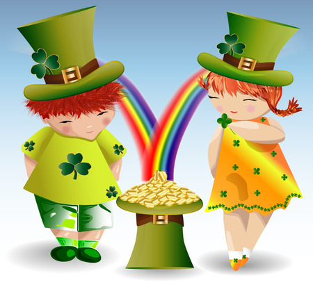 A red-haired boy and a red-haired girl in green clothes and green forts to St. Patricks Day with maple leaves and a hat filled with gold coins that pour from the rainbow. Illustration