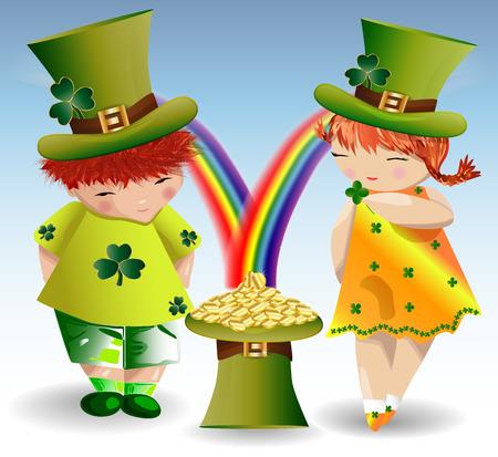 Um menino ruivo e uma menina ruivo na roupa verde e fortes verdes ao dia de St Patrick com folhas de plátano e um chapéu encheu-se com as moedas de ouro que derramam do arco-íris. Foto de archivo - 93751346