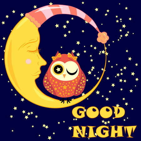 Good night. Postcard with a dormant crescent, a cute cartoon owl and text.