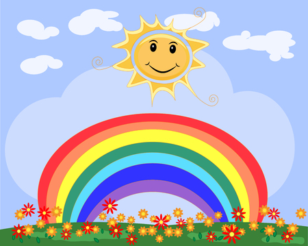 Landscape, greeting card with smiling sun, seven-colored rainbow, a clearing of flowers, a clear sky. Spring Summer.