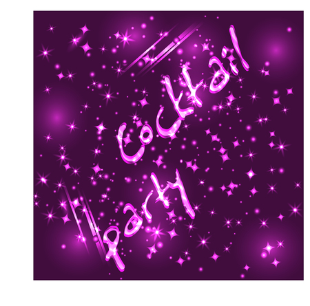 Inscription Cocktail party on a dark background with sparkling backlight, stars.
