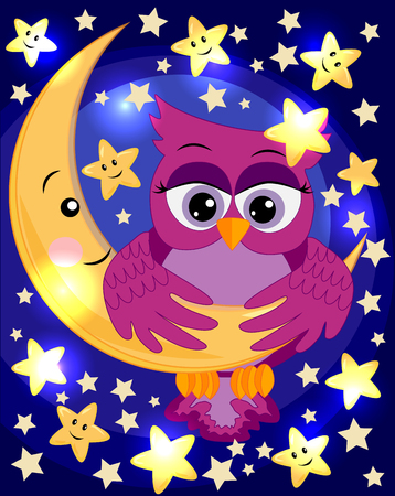 Bright, cartoon, beautiful pink owl-girl with beautiful eyes keeps wings for a month among the stars. Ilustração