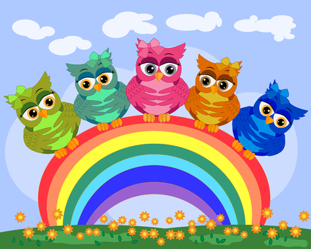 Five bright, cartoon, beautiful, pink owls with bows on the ear sit on a seven-colored rainbow.
