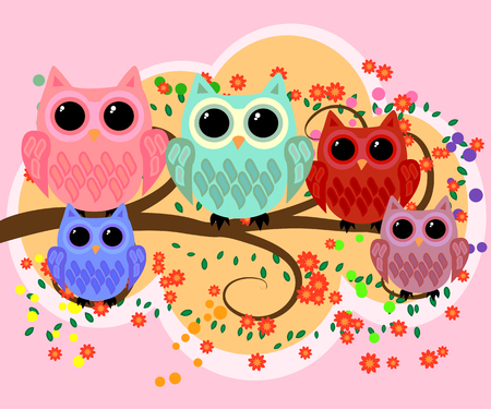 Happy family of owls on flowering tree branches. Daddies, mothers and children, grandparents. Spring, summer, honeymoon season Illustration