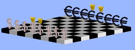 The concept of the struggle between the dollar and the euro. Chessboard with three-dimensional figures of currencies.