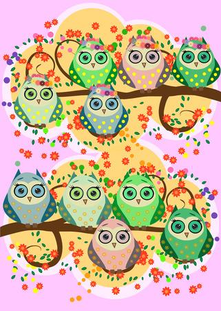 Bright, cartoonish, flirtatious, loving owls on the flowering branches of a tree. Spring, summer, girlfriends.
