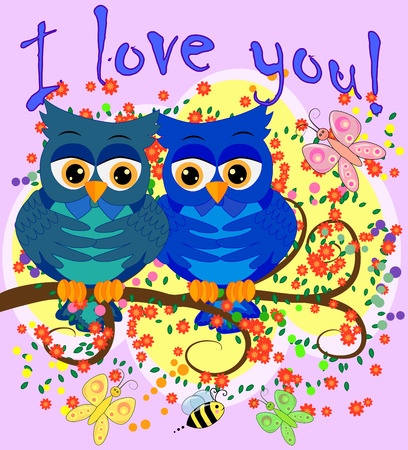 Two blue-eyed, owl-owl-boys sit on the flowering branch of a tree, love is in the air. The inscription I love you. Concept of homosexual male love, postcard Illustration