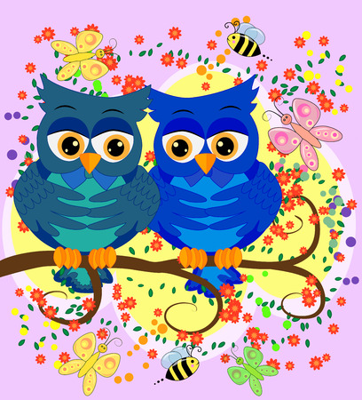 Two blue-eyed, owl-owl-boys sit on the rainbow among the hearts, love is in the air. Concept of homosexual male love, postcard