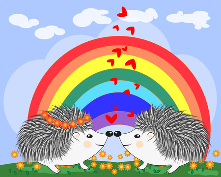 Two lovers cute cartoon hedgehogs, a boy and a girl near a seven-colored rainbow on a spring, summer day