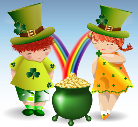 A red-haired boy and a red-haired girl in green clothes and green shorts to St. Patricks Day with maple leaves and a bowler hat, filled with gold coins that pour from the rainbow