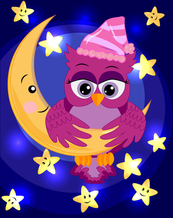 bright, cartoon, beautiful pink owl-girl with beautiful eyes keeps wings for a month among the stars.