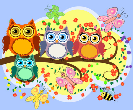 A family of bright, cartoon, cute, colorful owls on a flowering tree branch, parents, children, chicks. Illustration