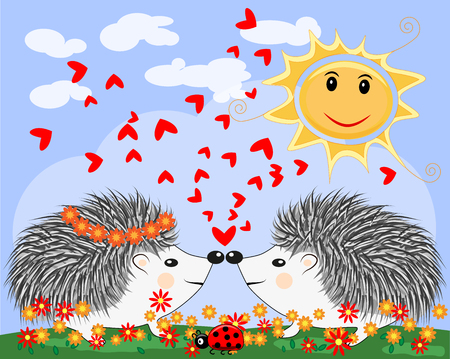 Two lovers cute cartoon hedgehogs, a boy and a girl near a seven-colored rainbow and ladybug on a spring, summer day Illustration
