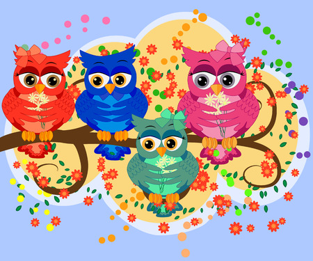 A family of colorful, bright, lovely cartoon owls on the branches of flowering trees. Moms, dads, children.