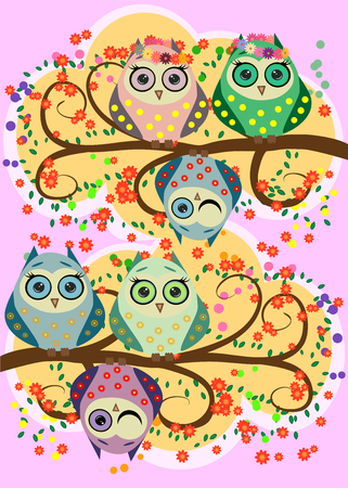 Bright, cartoon, flirtatious, loving owls on the flowering branches of a tree, spring, summer, girlfriends.