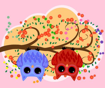 Bright, cartoon, flirtatious, loving owls on the flowering branches of a tree spring, summer, girlfriends. Çizim