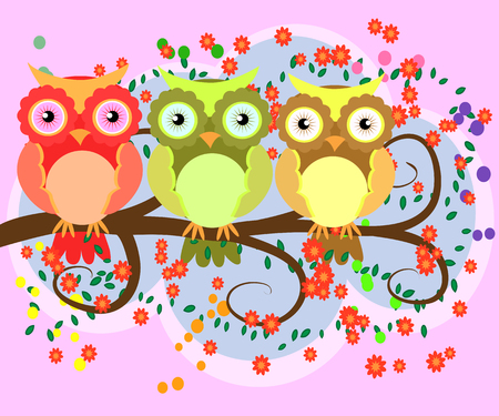 A happy family of owls on flowering tree branches, moms and children.