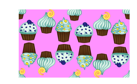 Seamless pattern of appetizing cupcakes with blue cream