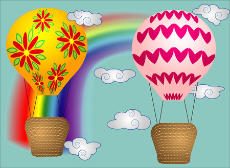 A few Vivid, cartoonish, large volumetric balloons with a basket in the sky amidst white clouds and a rainbow. Flying, happiness, freedom