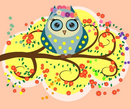 Bright, cartoon, flirtatious, loving owls on the flowering branches of a tree. Çizim