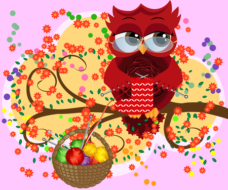 A red flirtatious owl in glasses sits on a branch and knits a red and white sock, Basket with colorful balls hangs on a branch Ilustração