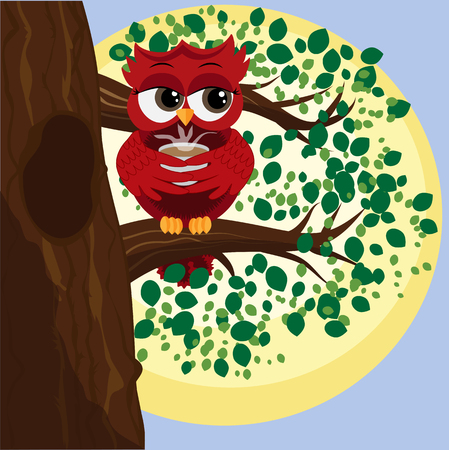 Cute beautiful flirtatious red owl on a branch with a cup of steaming coffee, tea or chocolate.