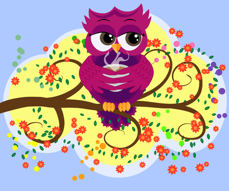 Cute beautiful flirtatious owl on the tree with a cup of steaming coffee, tea or chocolate Illustration