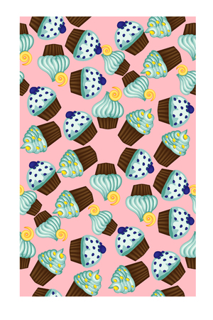 Seamless pattern of appetizing cupcakes with blue cream.
