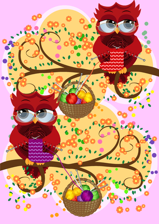 A red flirtatious owl in glasses sits on a branch and knits a red and white sock, Basket with colorful balls hangs on a branch Illustration