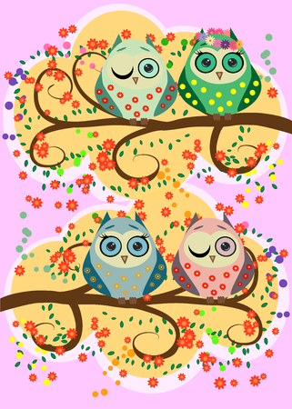 Bright, cartoonish, flirtatious, loving owls on the flowering branches of a tree.