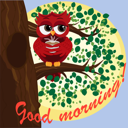 Cute beautiful flirtatious red owl on a branch with a cup of steaming coffee, tea or chocolate. Inscription Good morning  Ilustração