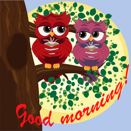 Cute beautiful flirtatious owls on a branch with a cup of steaming coffee, tea. Inscription Good morning! Illustration