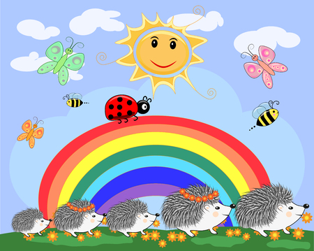A family of five cute cartoon hedgehogs and a ladybird on top of the rainbow in a sunny day. Illustration